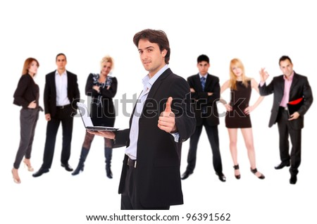 Photo of a business team isolated on a white background - stock photo