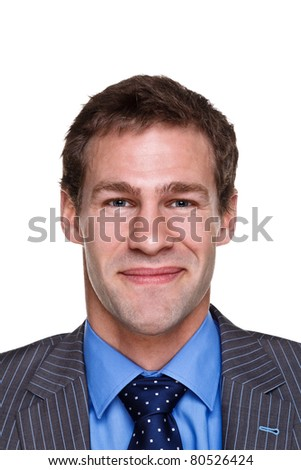 Photo of a businessman with a happy expression on his face, headshot isolated on a white background. Part of a series. - stock photo