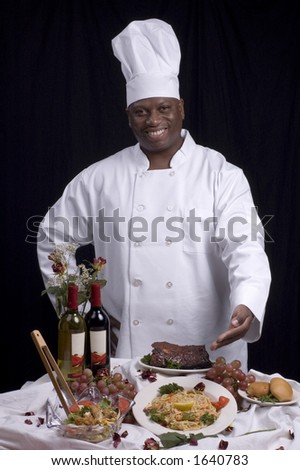 Photo of a chef - in chef attire - with good expressions. - stock photo