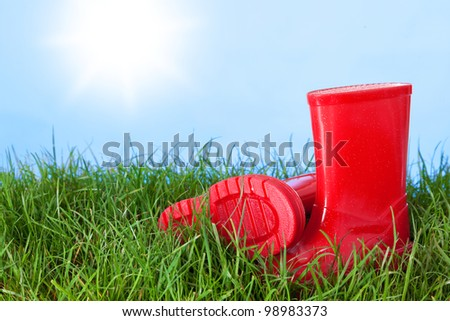 Photo of a childs wellington boots on grass outside on a sunny day - stock photo