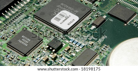 photo of a computer circuit board - stock photo