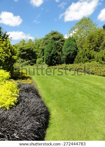 Photo of a garden with grass, plants and trees - stock photo