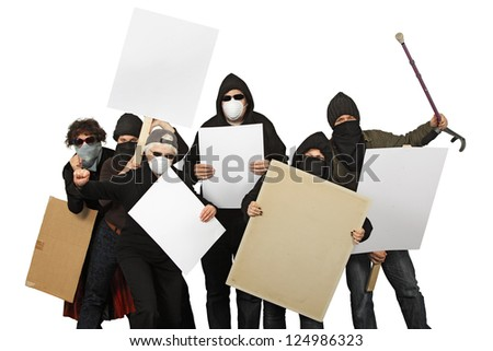 Photo of a group of angry protesters wearing masks and holdings signs over a white background. - stock photo
