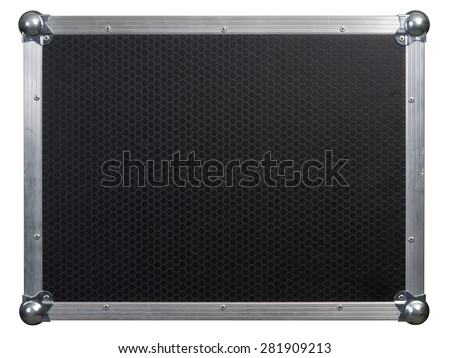 Photo of a isolated road case or flight case with reinforced metal corners.  Background image for music-related shipping and touring. Clipping path included. - stock photo