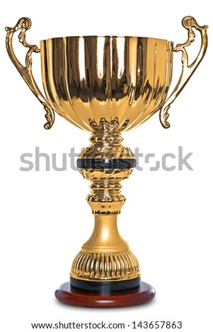 Photo of a large gold trophy on a wooden stand, isolated on a white background with clipping path. - stock photo