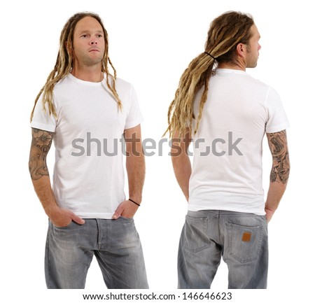 Photo of a male in his early thirties with long dreadlocks and posing with a blank white shirt.  Front and back views ready for your artwork or designs. - stock photo