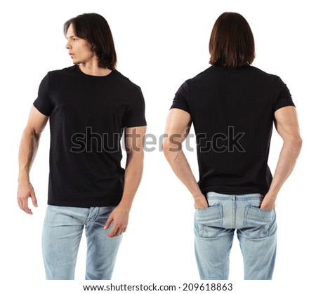 Photo of a man wearing blank black t-shirt, front and back. Ready for your design or artwork. - stock photo