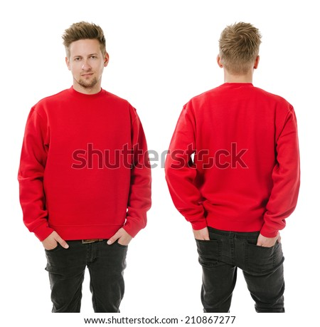 Photo of a man wearing blank red sweatshirt, front and back. Ready for your design or artwork. - stock photo