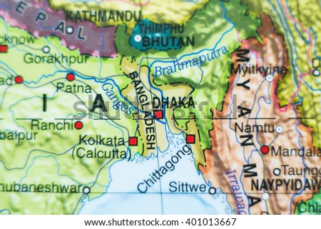 Photo of a map of Bangladesh and the capital Dhaka . - stock photo