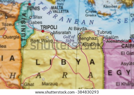 Photo of a map of Libya  and the capital Tripoli . - stock photo