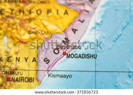 Photo of a map of Somalia  and the capital Mogadishu . - stock photo