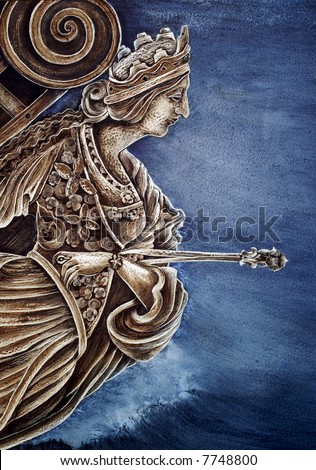 Photo of a mural showing the statue on the bow of an old sailing ship - stock photo