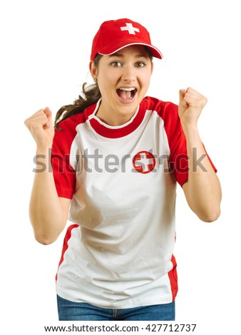Photo of a Swiss sports fans excited and cheering for her team isolated over white background. - stock photo