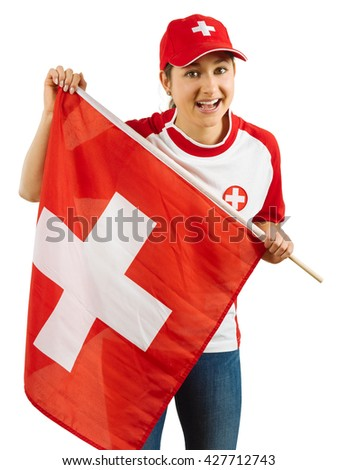 Photo of a Swiss sports fans waving a flag and cheering for her team isolated over white background. - stock photo