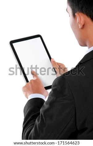 photo of a tablet held by a hand of businessman horizontaly isolated on white background - stock photo
