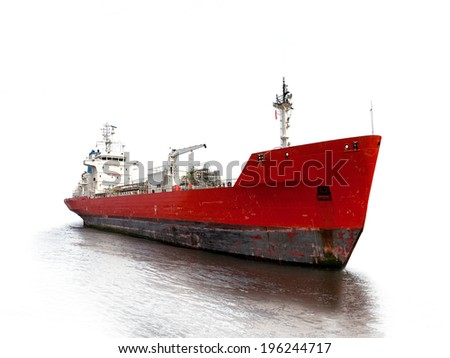 Photo of a tanker ship isolated on white background. - stock photo