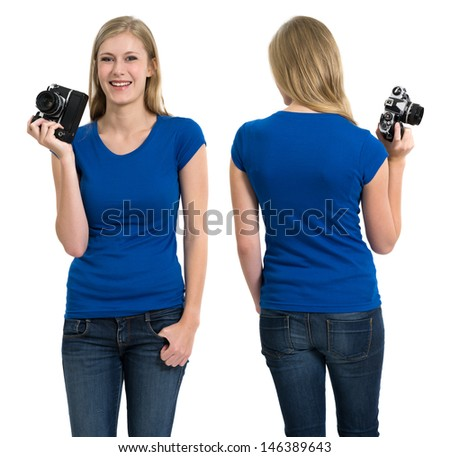 Photo of a teenage female with long blond hair posing with a blank blue shirt and holding an old film camera.  Front and back views ready for your artwork or designs. - stock photo