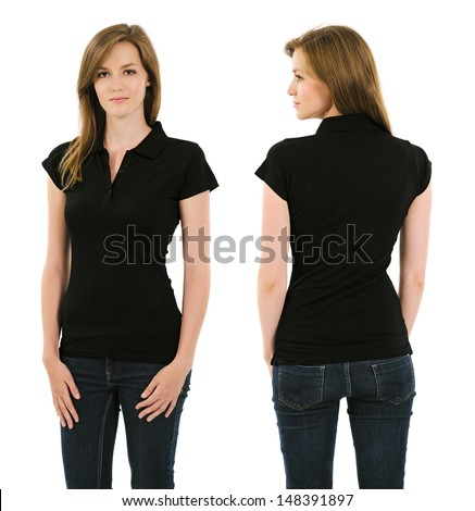 Photo of a young adult female posing with a blank black polo shirt.  Front and back views ready for your artwork or designs. - stock photo