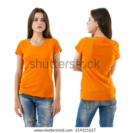Photo of a young beautiful sexy woman with blank orange shirt, front and back. Ready for your design or artwork. - stock photo