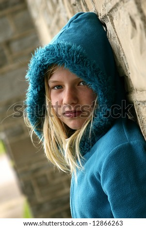 Photo of a young girl with very pretty eyes. - stock photo