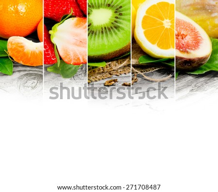 Photo of abstract fruit mix with white space for text - stock photo