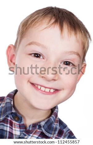 Photo of adorable young boy looking at camera - stock photo