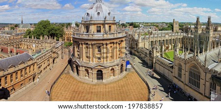 photo of aerial, panoramic view of Oxford with Radcliffe Camera, the square and surrounding colleges, stylized and filtered to look like an oil painting. - stock photo