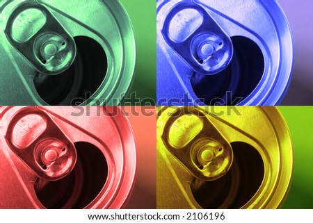 Photo of aluminum can top, filtered, and reproduced as panels. - stock photo
