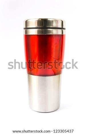 Photo of aluminum  red mug with white background - stock photo