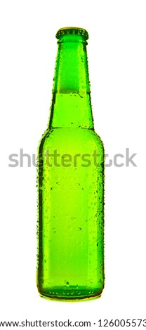 Photo of an ice cold bottle of beer covered in droplets, isolated on a white background. - stock photo
