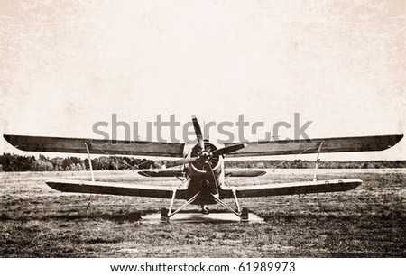 Photo of an old biplane - stock photo