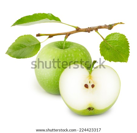 Photo of apple with slice and leaves isolated on white - stock photo