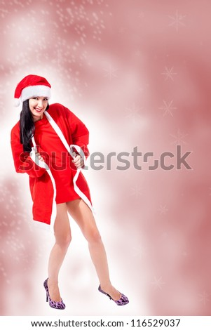 photo of attractive girl with sexy christmas outfit - stock photo