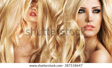 Photo of beautiful blonde women with magnificent hair - stock photo