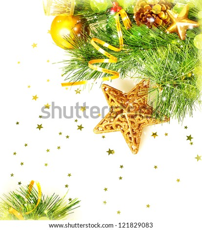 Photo of beautiful Christmas border, Christmastime festive still life, green fir tree decorated with golden ribbon, star and ball isolated on white background, New Year greeting card, Xmas decoration - stock photo