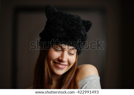photo of beautiful young woman - stock photo