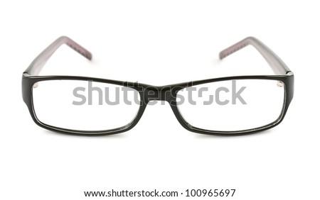 Photo of black glasses isolated on white background - stock photo