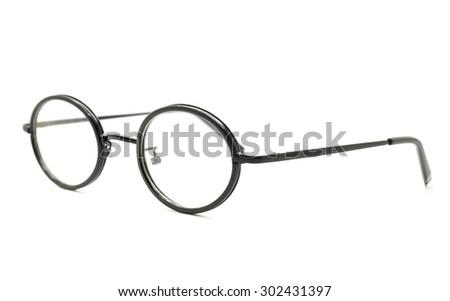 Photo of black nerd glasses isolated on white - stock photo