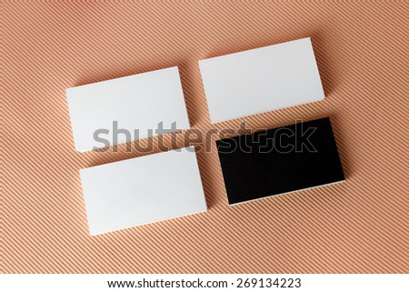 Photo of blank business cards on colored background. Template for branding identity. Top view. - stock photo