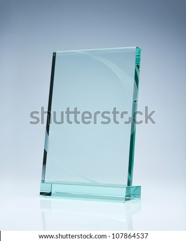 Photo of blank glass award plate with copy space - stock photo