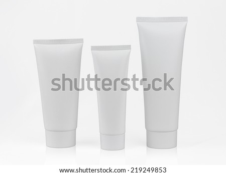 photo of blank product packages isolated on white  - stock photo