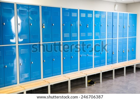 Photo Of Blue Lockers In The Room - stock photo