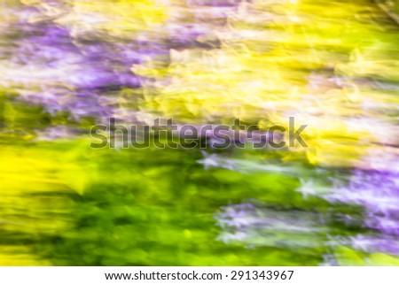 Photo of blurry abstract background, colorful summer garden with colorful flowers photographed on long exposure with motion effect. - stock photo