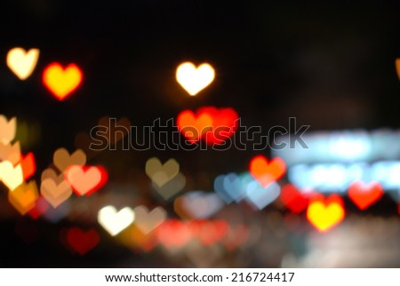 Photo Of Bokeh Lights / Street Lights Out Of Focus / filtered heart blurred background.  - stock photo