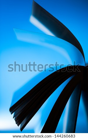 Photo Of Book Pages Detail, Back Lit. - stock photo
