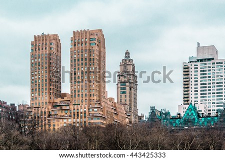Photo of Buildings near Central Park in Manhattan, New York City - stock photo