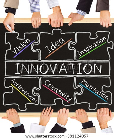 Photo of business hands holding blackboard and writing INNOVATION diagram - stock photo