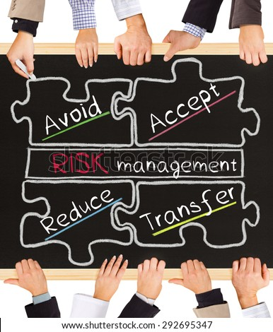 Photo of business hands holding blackboard and writing Risk Management schema - stock photo