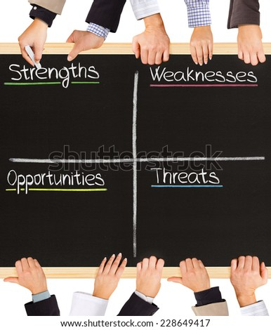 Photo of business hands holding blackboard and writing SWOT analysis terms - stock photo