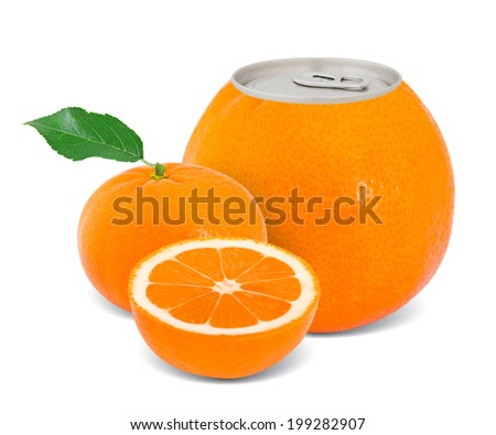 Photo of can with fruit - tangerine juice concept - stock photo
